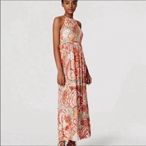 Loft orange floral tropical halter maxi dress